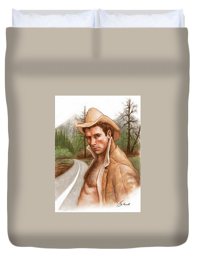 Cowboy Art Bruce Lennon Duvet Cover featuring the painting Twin Peaks Cowboy by Bruce Lennon