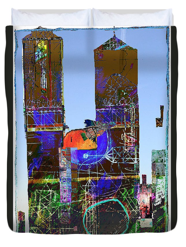 Twin Towers Duvet Cover featuring the digital art Twin Towers by Andy Mercer