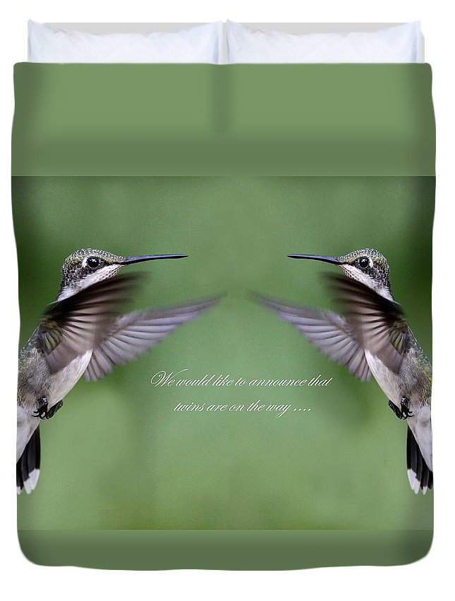 Twins Duvet Cover featuring the photograph Twins Card - Hummingbirds by Travis Truelove