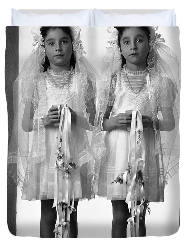 First Communion Duvet Cover featuring the photograph Twins First Communion 2 by Seely Studio
