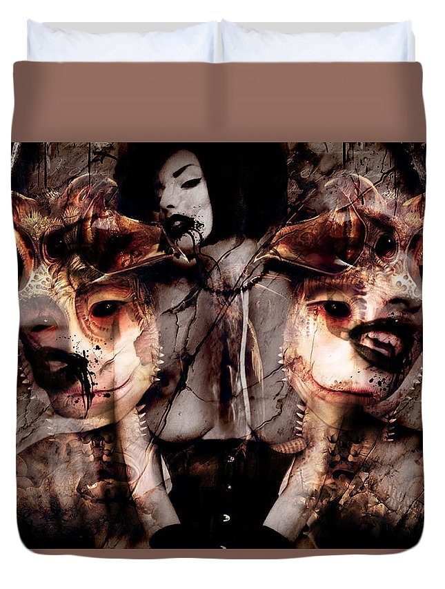 Twins 2 By Rifas Duvet Cover featuring the painting Twins II by Safir Rifas