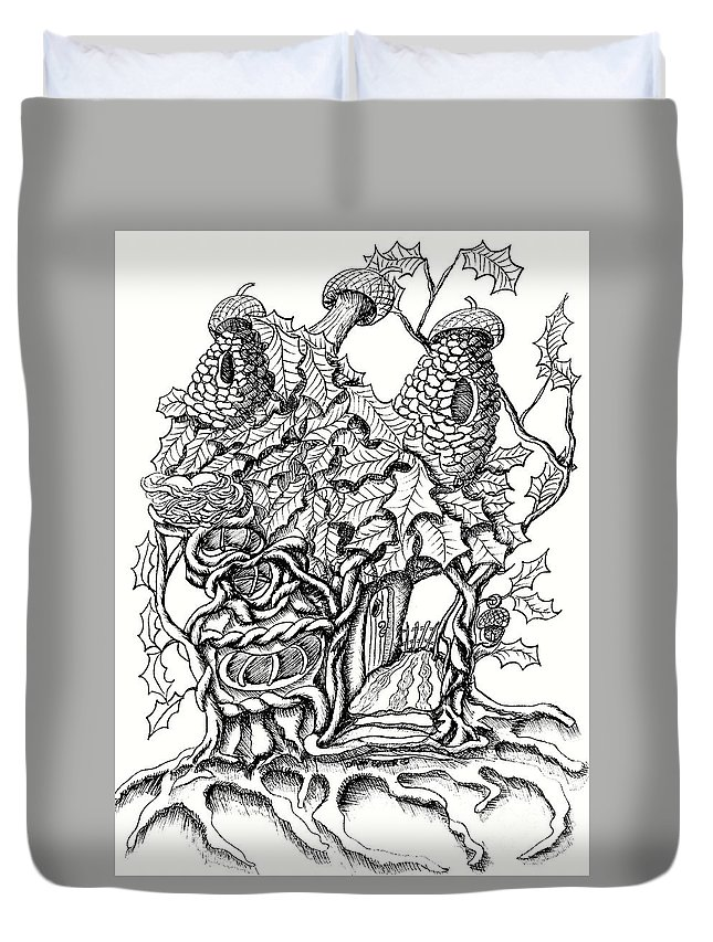 #dawndboyer Duvet Cover featuring the drawing Twisted Willow Fairy House With Oak Leave Roof by Dawn Boyer