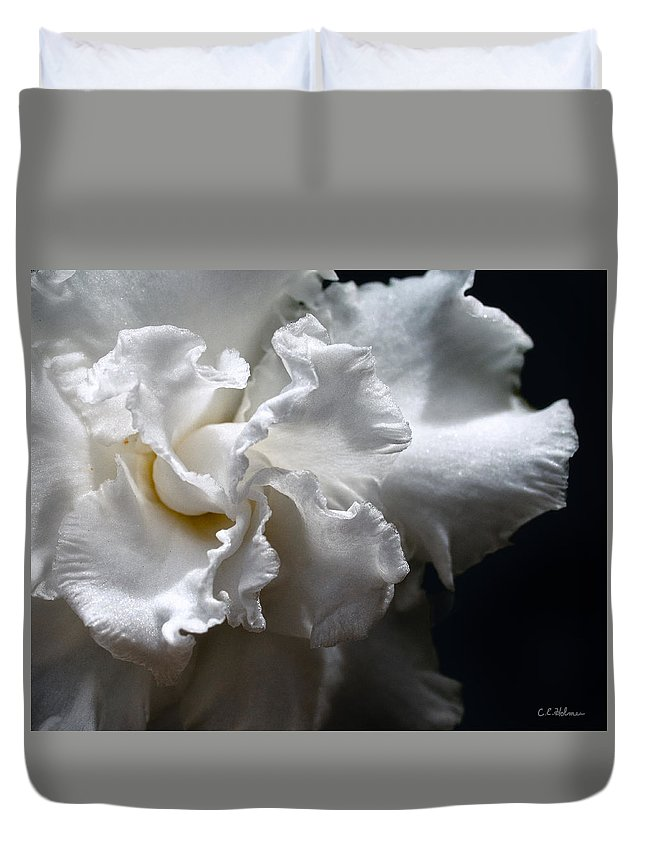 Flower Duvet Cover featuring the photograph Twisting Folds by Christopher Holmes