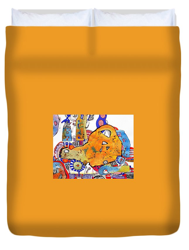 Colourful Duvet Cover featuring the painting Two And A Half Dresses by Natalia Pastushenko