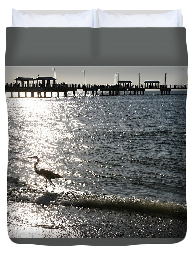 Fort De Soto Duvet Cover featuring the photograph Two Anglers At Fort De Soto by Mal Bray