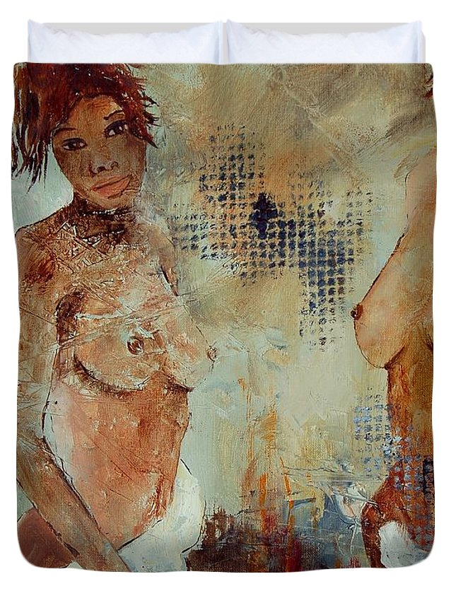Girl Nude Duvet Cover featuring the painting Two Black Sisters by Pol Ledent