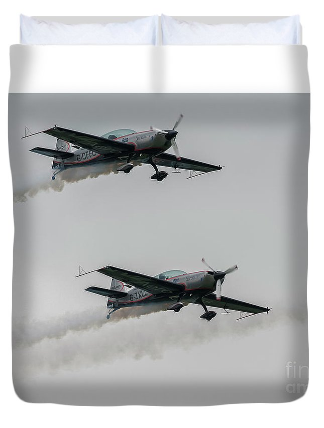 Ea-300 Duvet Cover featuring the photograph Two Blades Extra Ea-300 Planes by Philip Pound