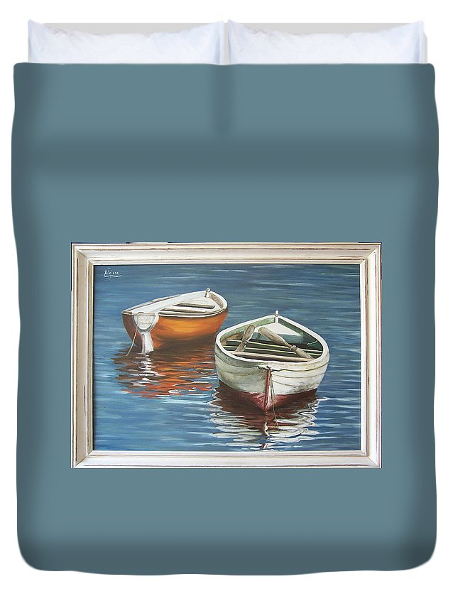 Boats Reflection Seascape Water Boat Sea Ocean Duvet Cover featuring the painting Two Boats by Natalia Tejera