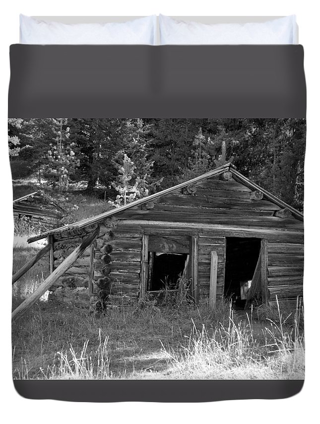 Abandoned Duvet Cover featuring the photograph Two Cabins One Outhouse by Richard Rizzo