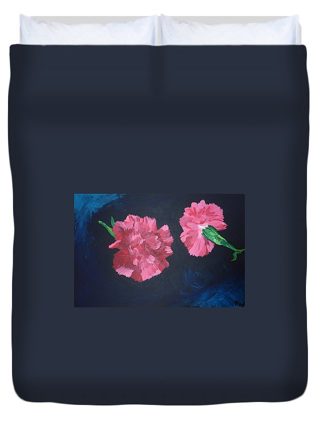Flower Duvet Cover featuring the painting Two Carnations by Joshua Redman