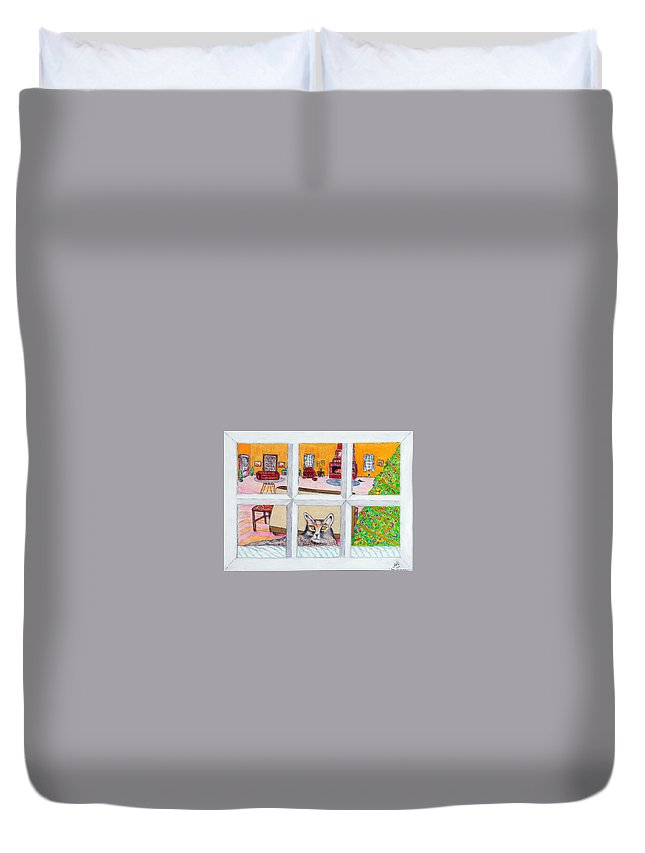 Cats Duvet Cover featuring the drawing Two Cats In The Window by Larry Oldham