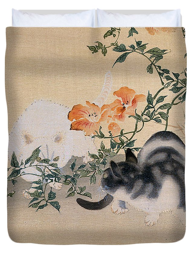 Black; White; Stripes; Striped; Hibiscus; Flower; Flowers; Chat; Chats; Asian; Oriental; Animal Duvet Cover featuring the painting Two Cats by Japanese School