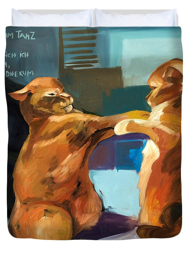 Classic Paintings Duvet Cover featuring the painting Two Cats Playing by Carmen Stanescu Kutzelnig