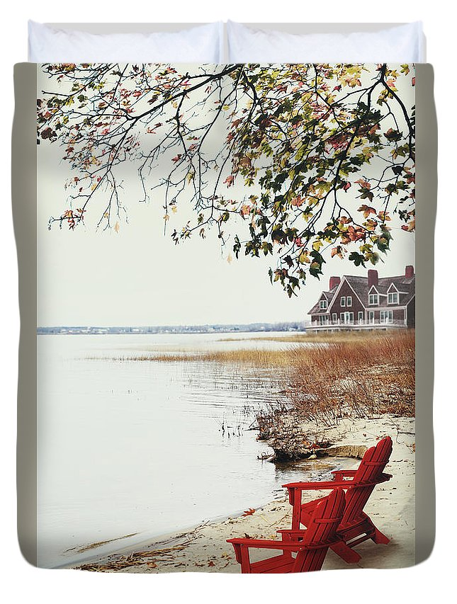 Atmosphere Duvet Cover featuring the photograph Two Chairs By The Lake's Edge In Autumn by Sandra Cunningham