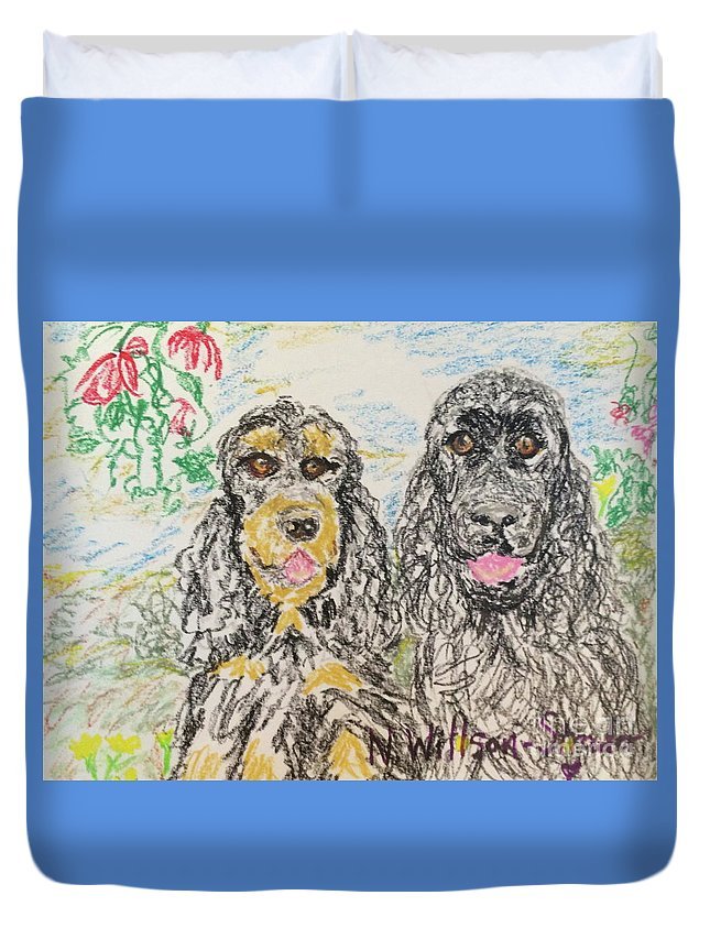 Two Cockers Duvet Cover featuring the drawing Two Cockers by N Willson-Strader