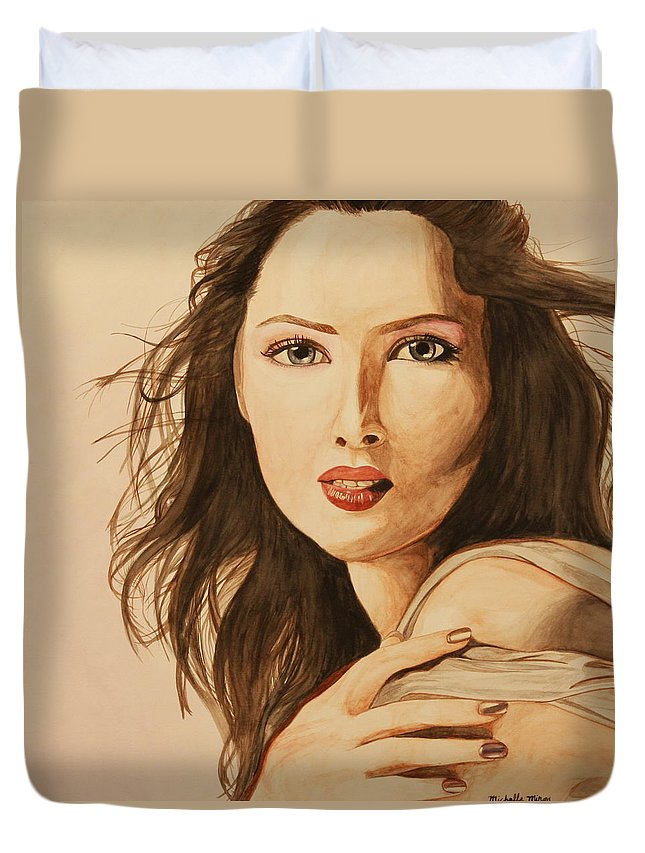 Woman Duvet Cover featuring the painting Two Color Portrait by Michelle Miron-Rebbe
