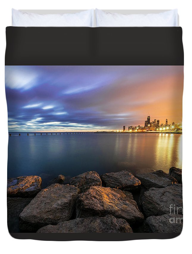 Long Exposure Duvet Cover featuring the photograph Two-colored Sky During The Sunrise by Dawid Swierczek