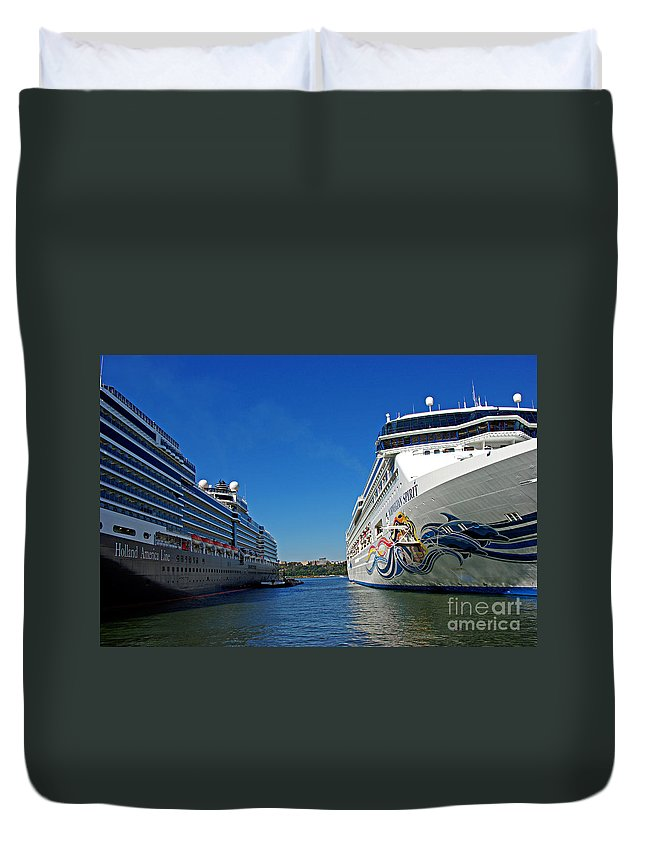 Cruise Duvet Cover featuring the photograph Two Cruise Ships by Zal Latzkovich