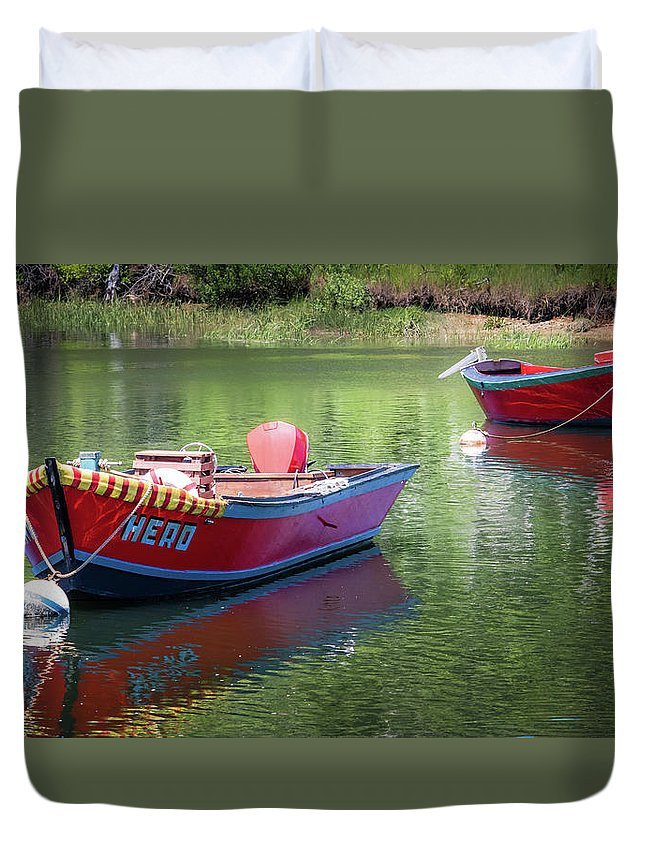 Boat Duvet Cover featuring the photograph Two Dories by Robert Anastasi