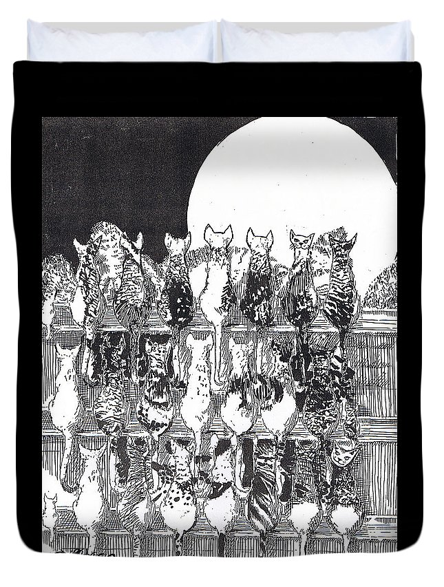 Cats Duvet Cover featuring the drawing Two Dozen And One Cats by Seth Weaver
