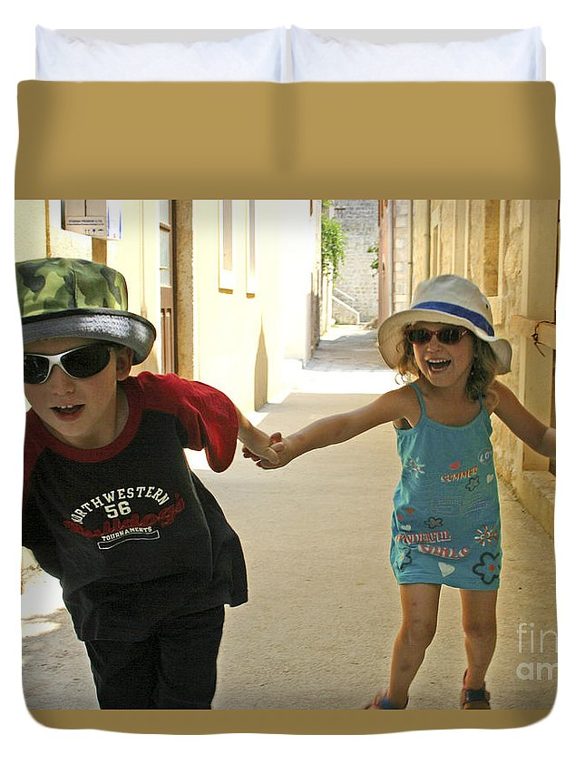Child Duvet Cover featuring the photograph Two Excited Children by Danny Yanai