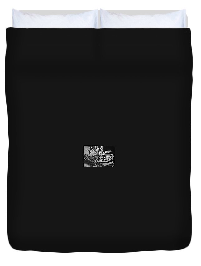 Flowers Duvet Cover featuring the drawing Two Flowers by Regan J Smith
