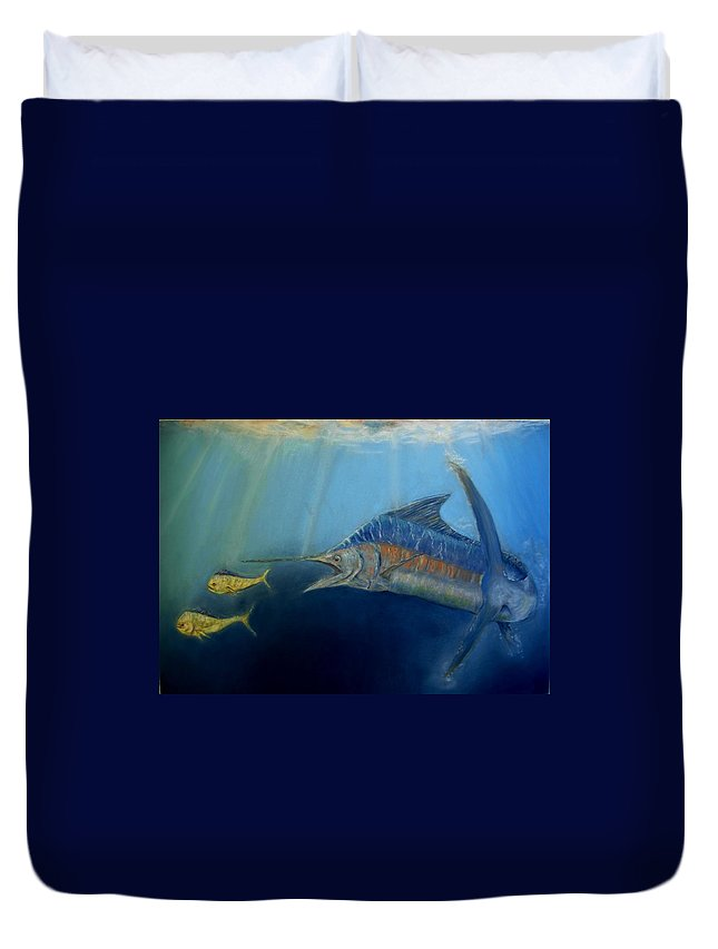 Marine Wildlife Duvet Cover featuring the pastel Two For Lunch by Ceci Watson
