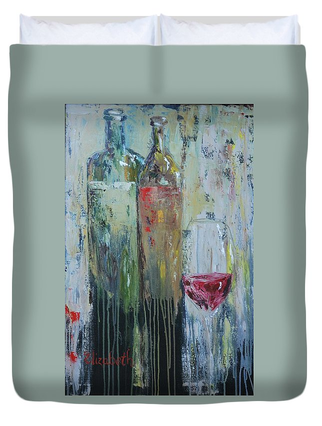 Wine Duvet Cover featuring the painting Two For One by Beth Maddox
