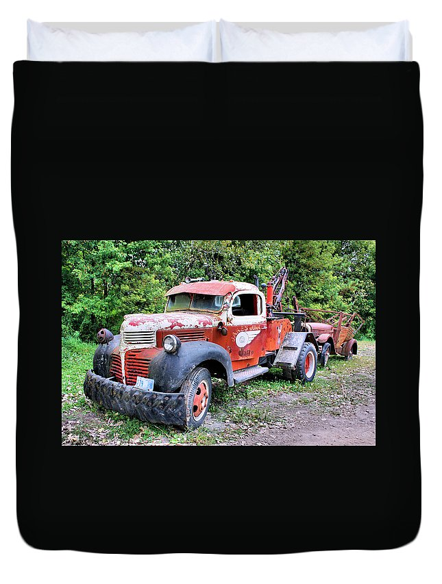 Old Truck Duvet Cover featuring the photograph Two for One by Kristin Elmquist