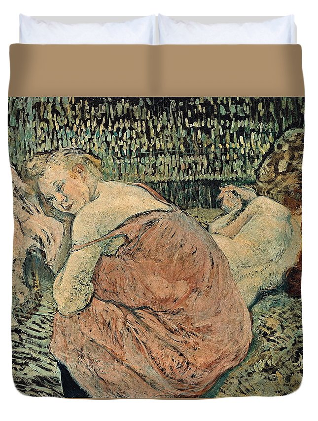 Nude Duvet Cover featuring the painting Two Friends 1895 by Henri De Toulouse Lautrec