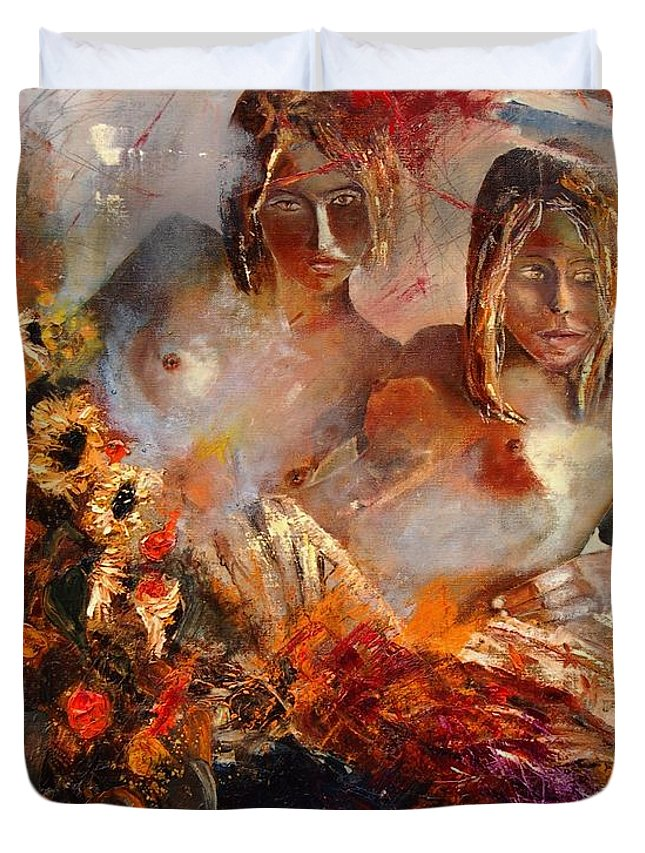 Girl Nude Duvet Cover featuring the painting Two Friends by Pol Ledent