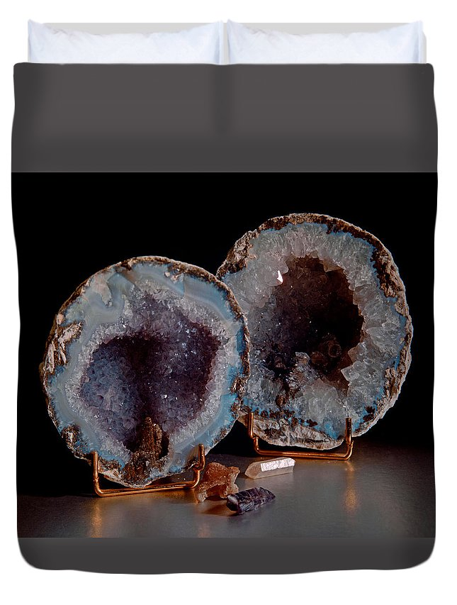 Geodes Duvet Cover featuring the photograph Two Geodes by Lonnie Paulson