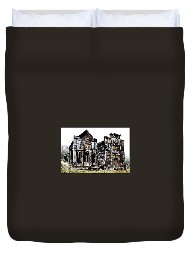 Ghost Town Duvet Cover featuring the photograph Two Ghosts by Nelson Strong