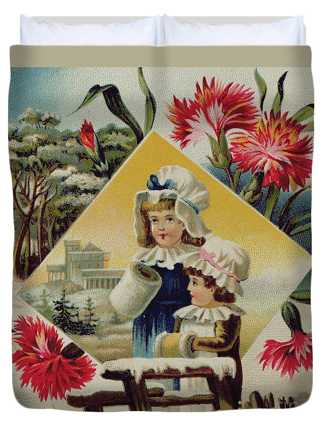 Two Girls On A Bridge In The Snow Duvet Cover featuring the painting Two Girls On A Bridge In The Snow, Victorian Christmas And New Year Card by English School