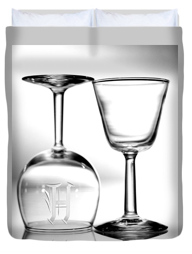 Glassware Duvet Cover featuring the photograph Two Glasses by Lonnie Paulson