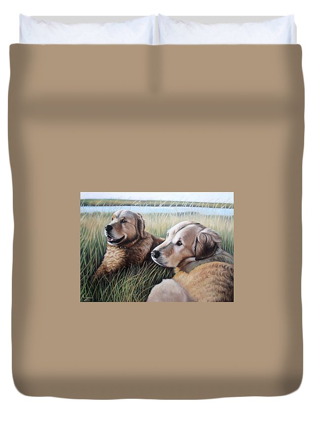 Dogs Duvet Cover featuring the painting Two Golden Retriever by Nicole Zeug