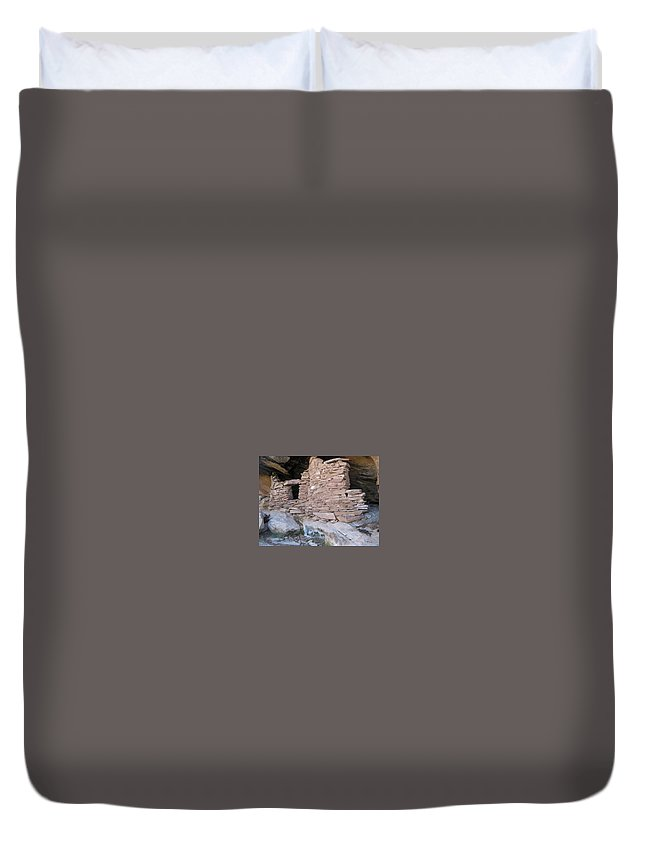 Cliff Duvet Cover featuring the photograph Two Graneries by Rita Drobny