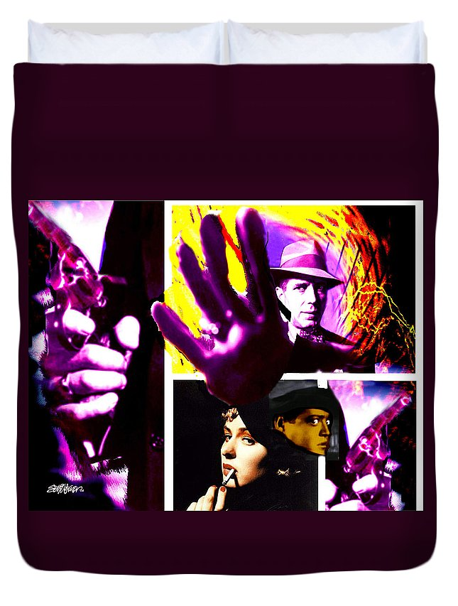 Humphrey Bogart Duvet Cover featuring the digital art Two Guys Two Guns And A Dame by Seth Weaver