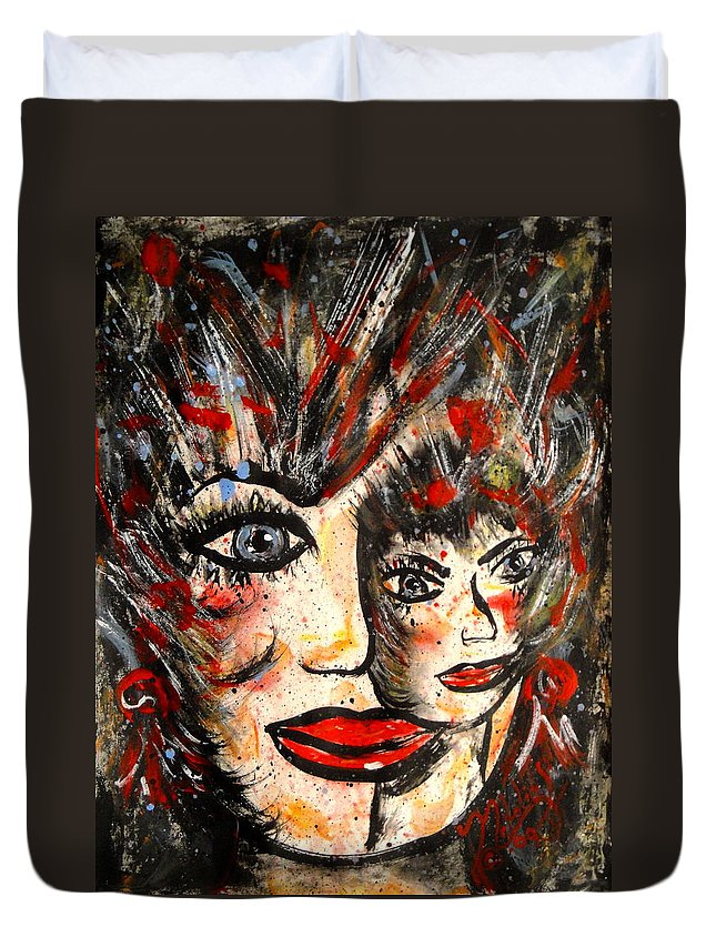 Free Expressionism Duvet Cover featuring the painting Two Heads Are Better Than One by Natalie Holland
