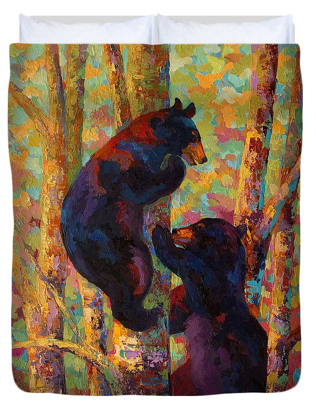 Bear Duvet Cover featuring the painting Two High - Black Bear Cubs by Marion Rose