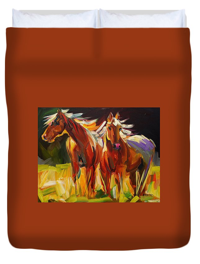 Painting Duvet Cover featuring the painting Two Horse Town by Diane Whitehead