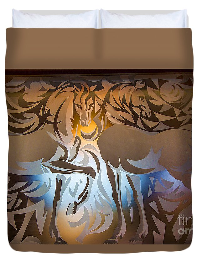 Portugal Lisbon Duvet Cover featuring the photograph Two Horses by Rick Bragan