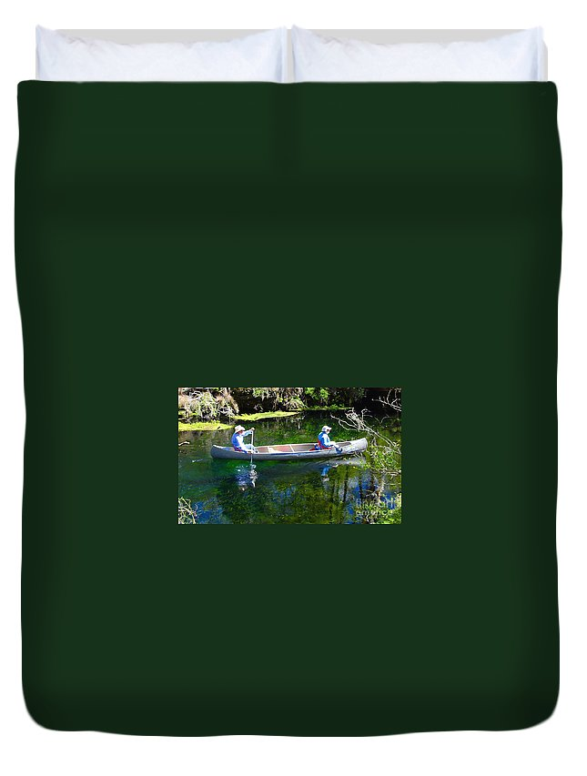 Canoe Duvet Cover featuring the photograph Two In A Canoe by David Lee Thompson