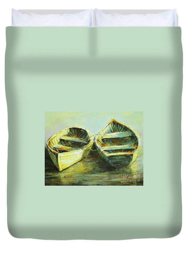 Canvas Prints Duvet Cover featuring the painting Two In A Row by Madeleine Holzberg