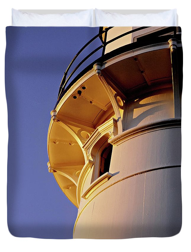 Cape Elizabeth Duvet Cover featuring the photograph Two Lights, Cape Elizabeth by Gary Shepard