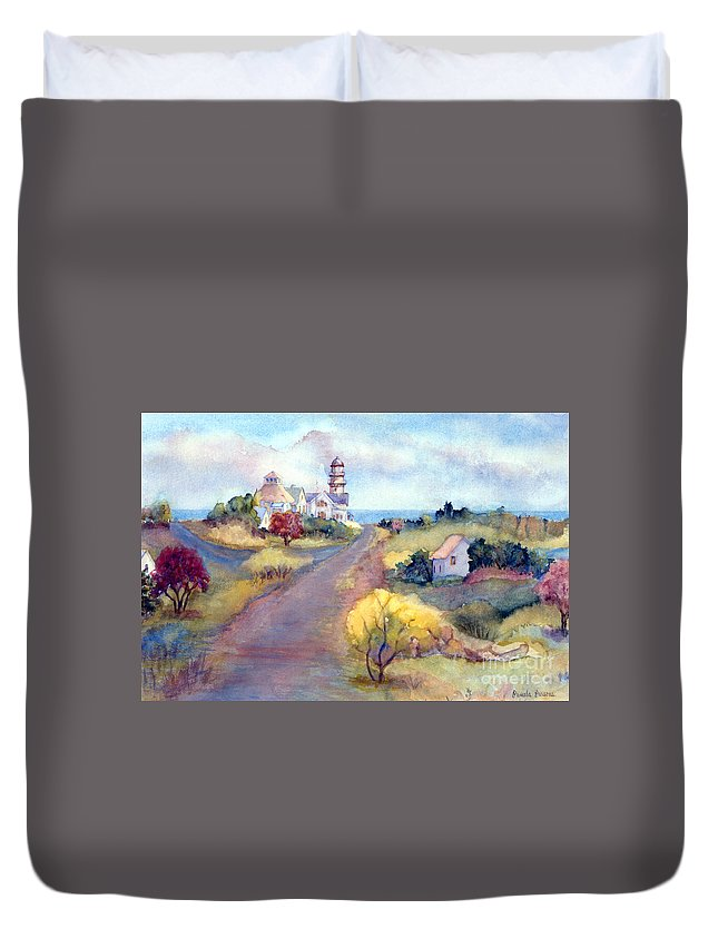 Two Lights Duvet Cover featuring the painting Two Lights In Cape Elizabeth Maine by Pamela Parsons
