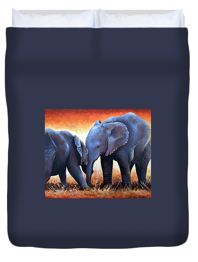 Elephants Duvet Cover featuring the painting Two Little Elephants by Paul Dene Marlor
