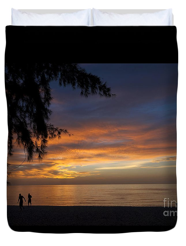 Thailand Duvet Cover featuring the photograph Two Men Walking On Sunset by Claudio Valdes
