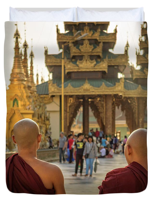 Burma Duvet Cover featuring the photograph Two Monks by Louise Poggianti