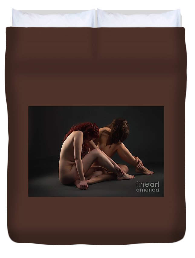Bodyscape Body Scape Duvet Cover featuring the photograph Christiana And Ciara - 2 by Robert McAlpine